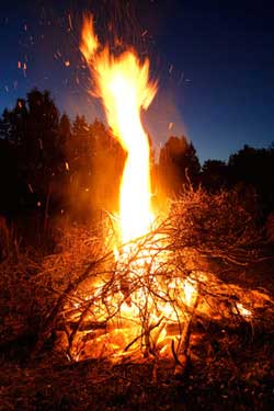 bonfires and flames for celtic festival beltaine